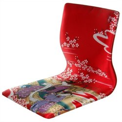 Oriental Furniture Tatami Meditation Backrest Chair in Red