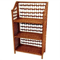 Oriental Furniture 3 Shelf Shelving Unit in Honey