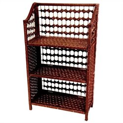 Oriental Furniture 3 Shelf Shelving Unit in Mahogany