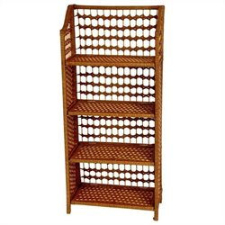 Oriental Furniture 4 Shelf Shelving Unit in Honey