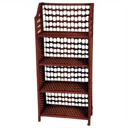 Oriental Furniture 4 Shelf Shelving Unit in Mahogany