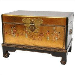 Oriental Furniture Small Trunk in Gold