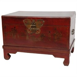 Oriental Furniture Small Trunk in Red