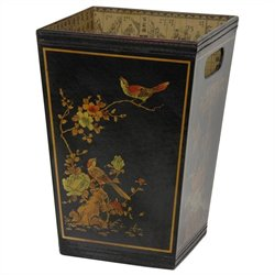 Oriental Furniture Trash Bin in Black