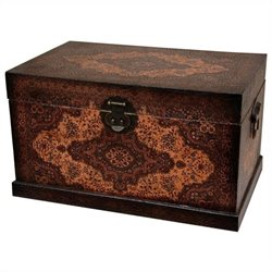 Oriental Furniture Olde-worlde Baroque Storage Box in Brown