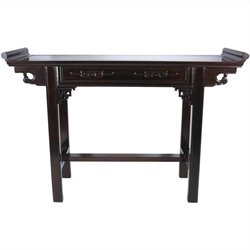 Oriental Furniture Qing Hall Table in Rosewood