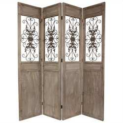 Oriental Railing Scrolls Room Divider in Brown and Grey