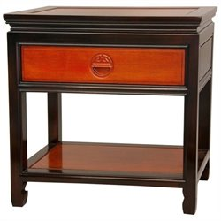 Oriental Furniture Bedside Table in Light and Medium Cherry Stain