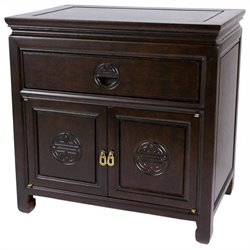 Oriental Furniture Bedside Cabinet in Rosewood