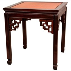 Oriental Furniture Square Ming Table in Honey and Cherry Stain