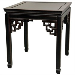 Oriental Furniture Square Ming Table in Black