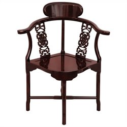 Oriental Furniture Corner Chair in Rosewood