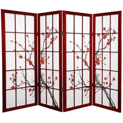 Oriental Furniture 4 ' Tall Cherry Blossom Screen in Rosewood
