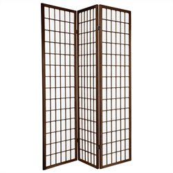 Oriental Furniture 6 ' Tall Window Panel Screen in Walnut