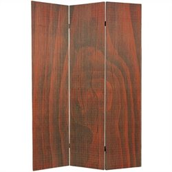 Oriental Frameless Room Divider with 3 Panel in Walnut