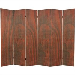 Oriental Frameless Room Divider with 6 Panel in Walnut