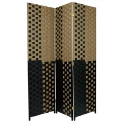 Oriental Room Divider with 3 Panel in Olive and Black