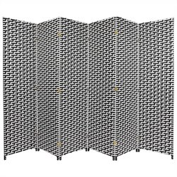 Oriental Woven Fiber Room Divider with 6 Panel in Black and White