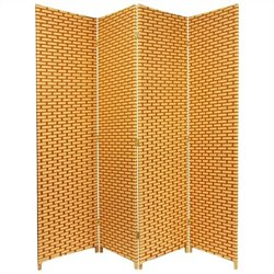 Oriental Room Divider with 4 Panel in Natural and Rust