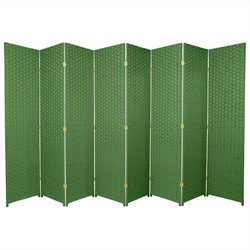 Oriental Frameless Room Divider with 8 Panel in Light Green