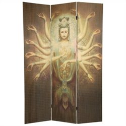 Oriental Thousand Arm Kwan Yin Bamboo Room Divider in Brown