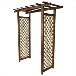 Oriental Furniture Japanese Garden Gate Trellis in Dark Natural