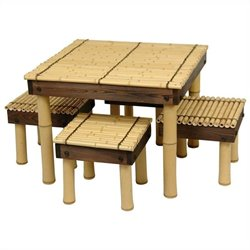 Oriental Furniture Zen Bamboo Coffee Table Set in Natural