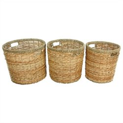 Oriental Furniture Round Waste Bin in Natural (Set of 3)