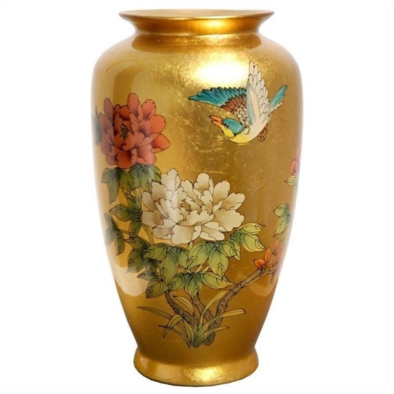Oriental furniture 12 tung chi vase in gold por tcv gb for Oriental vase and furniture