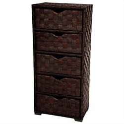 Oriental Furniture 5 Drawer Chest in Mocha