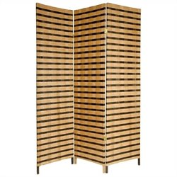 Oriental Furniture 6 ' Tall 3 Panel Room Divider in Tan and Brown