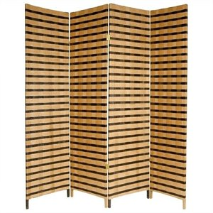 Oriental Furniture 6 ' Tall 4 Panel Room Divider in Tan and Brown