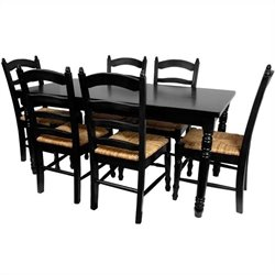 Oriental Furniture Classic Dining Room Set in Black