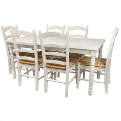 Oriental Furniture Classic Dining Room Set in White