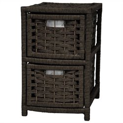 Oriental Furniture 2 Drawer Occasional Chest in Black