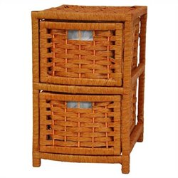 Oriental Furniture 2 Drawer Occasional Chest in Honey