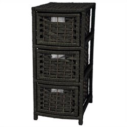 Oriental Furniture 3 Drawer Occasional Chest in Black