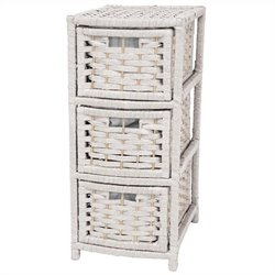 Oriental Furniture 3 Drawer Occasional Chest in White