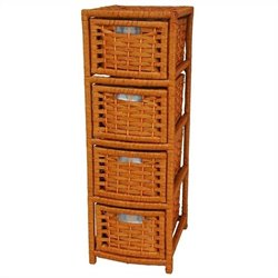 Oriental Furniture 4 Drawer Occasional Chest in Honey