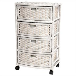Oriental Furniture 4 Drawer Chest in White