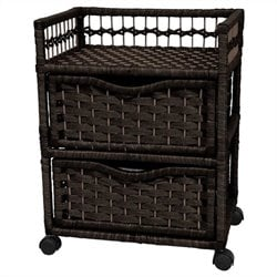 Oriental Furniture 2 Drawer Chest On Wheels in Black
