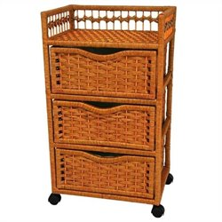 Oriental Furniture 3 Drawer Chest On Wheels in Honey