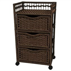 Oriental Furniture 3 Drawer Chest On Wheels in Mocha