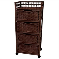 Oriental Furniture 4 Drawer Chest On Wheels in Mocha