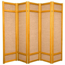 Oriental Furniture 6 ' Tall 5 Panel Shoji Screen in Honey