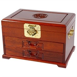 Oriental Furniture Jewelry Box with 2 Drawers in Honey