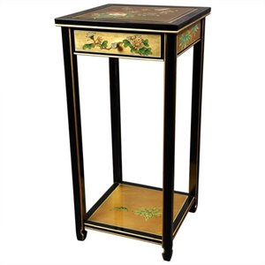 Oriental Furniture Pedestal with Drawer in Gold