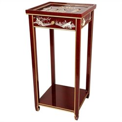 Oriental Furniture Chinese Lacquer Pedestal in Red