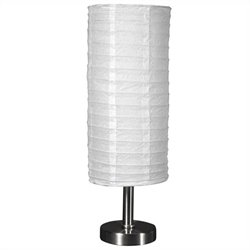 Oriental Furniture Cylindrical Haru Lamp in White and Silver