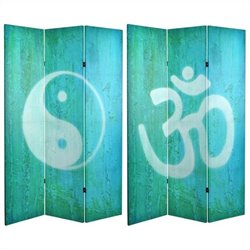 Oriental Double Sided Yin Yang and Om Canvas Room Divider in Blue